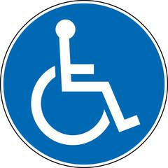 Gebotszeichen Behinderung Rollstuhlfahrer Handicap