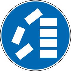 Gebotszeichen Richtig stapeln Schild Zeichen Symbol