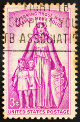Postage stamp USA 1957 Allegory polio