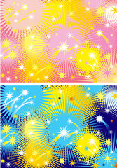 Two color  backgrounds with holiday bright firework