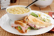 Ham and cheese sandwich and soup
