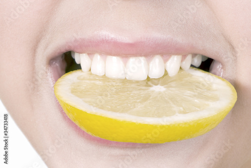 Lemon in a teeth