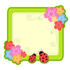 frame with beetles and flowers