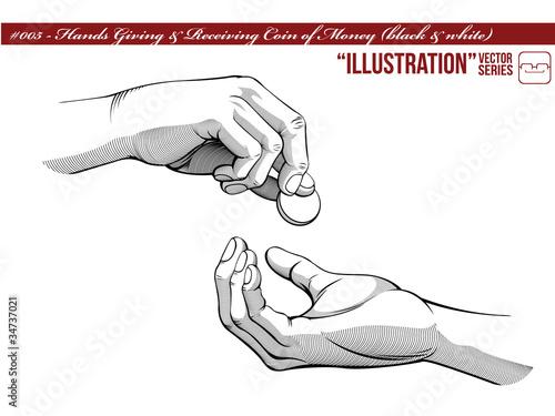 Illustration #005 Hands Giving & Receiving Money_black white