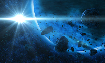 Blue cold planet in deep space