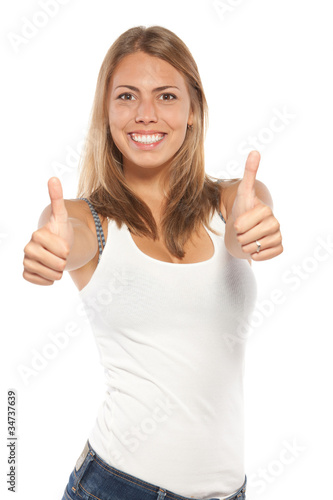 Excited female in casual showing thumb up signs