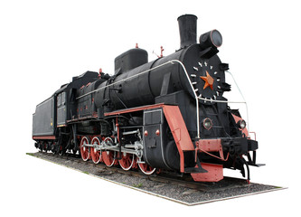 Old black locomotive isolated