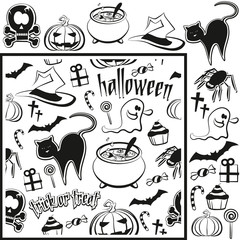 halloween pattern and single elements