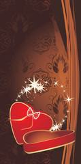 Red box on the decorative brown background. Holiday banner