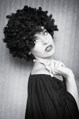 fashion model with afro hairstyle