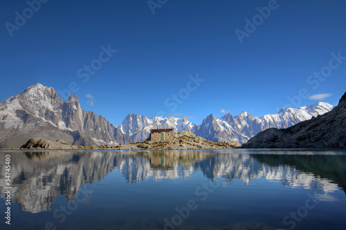 Mont Blanc reflecting in Lake Blanc, Chamonix, France