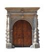 Old large wooden door - door portal - white background