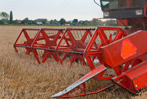 Closeup of a combine at work in a cornfield