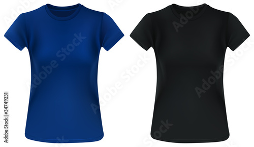 Woman t-shirt design template; blue and black.