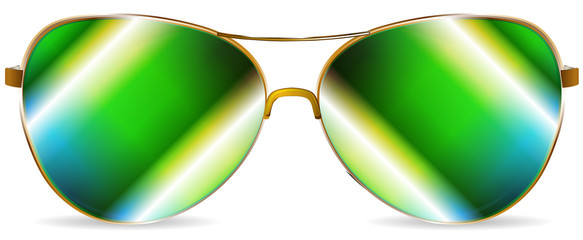 abstract green sunglasses isolated on white background