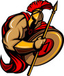 Spartan Trojan Mascot Cartoon with Spear and Shield