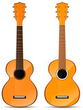 set of orange classical acoustic guitar isolated on white