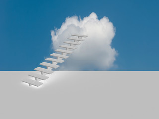 Conceptual image - ladder in the sky