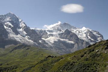 Jungfrau and Monch above the Mannlichen footpath in Switzerland