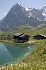 North Face of Eiger above pool at Kleine Scheidegg