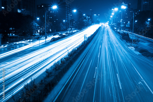 light trails with blue tone