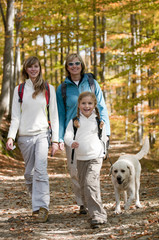 Autumn - Family with dog on autumn trek