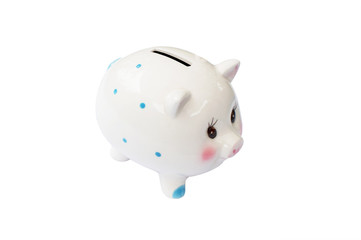 White Piggy Bank - white background