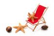 sedia a sdraio con stelle e conchiglie