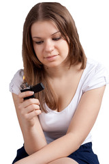 Girl with a cigarette lighter in the hands