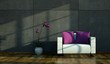 Wohndesign weisser Sessel vor Betonwand