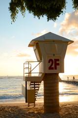 A Lifeguard Station On Waikiki Beach In Hawaii