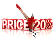 20 percent discount 3d concept