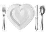 heart shaped plate with silverware