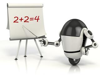 robot teaching math 3d illustration
