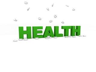 3d Rendering Health - Gesundheit, Tabletten weiß