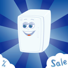sale banner with cartoon refrigerator