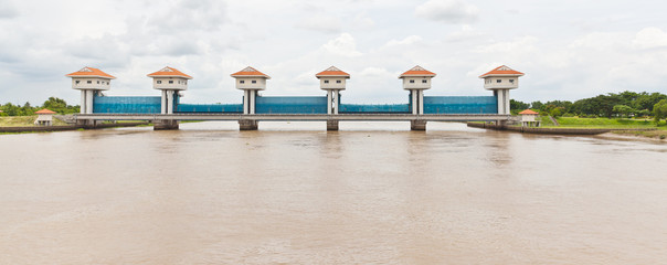 The water gate of BangPaKong River in Thailand