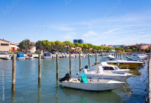 Boats in the city centre of Grado, Italy.