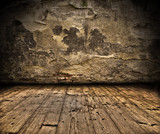 Fototapety Grunge wall with wooden plank floor