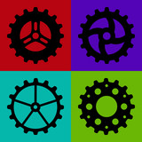 Four black sketchy gear wheels on a colorful background poster