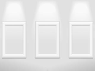 Three photo frames on the wall