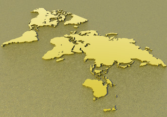 Cartina planisfero mondo d'oro