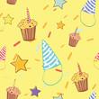 Birthday cheerful colorful seamless pattern