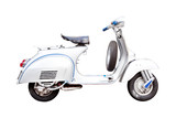 vintage vespa, Classic Italian scooter on a white background