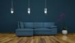 Wohndesign - blaues Stoffsofa