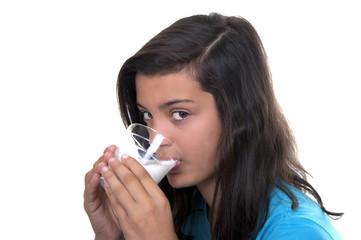 teenage girl with glass of milk