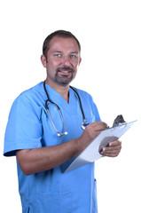 smiling doctor taking notes