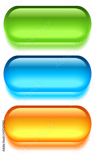 Glass web buttons set, vector illustration