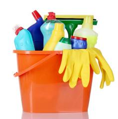 detergent bottles, brushes and gloves