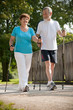 Seniorenpaar beim Nordic walken